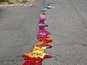 Decorative Fabric Filled Potholes Paris
