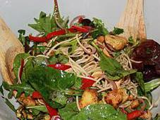 Spicy Chicken Salad with Coriander, Mint Noodles