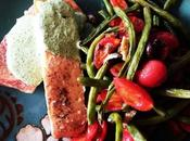 Baked Salmon with Mediterranean Style Vegetables