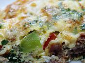Food: Breakfast Sausage Pepper Frittata with Guryere.