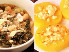 White Bean Kale Soup with Goat Cheese Polenta