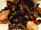 Black Rice Veggie Stew Served with Organic Chicken Pieces!