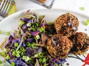 Quinoa Black Bean Meatballs with Hoisin Ginger Sauce Broccoli Cabbage Stir-Fry