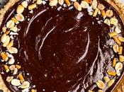 Chocolate Peanut Butter Tart with Pretzel Crust (Gluten Free Vegan)