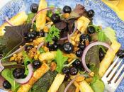 Grilled Halloumi Salad with Pickled Blueberries Pistachios