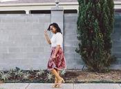 Printed Midi Skirt Lace Heels