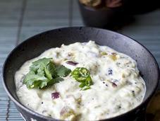 Vankaya Perugu Pachadi (Eggplant Yogurt Gravy)