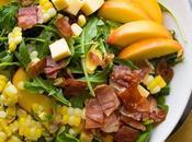 Corn Peach Salad Recipe with Crispy Prosciutto
