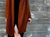 Look Day: Cozy Brown Cardigan Black Dress