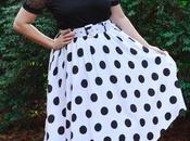 Polka Skirt, Beaded Top, Floral Heels