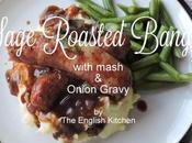 Roasted Bangers with Mash Onion Gravy