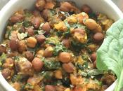 Kala Channa Palak Subji. Brown Chickpeas Spinach Curry
