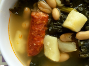 Instant Soup with Greens, Beans, Potatoes Chorizo
