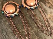 Copper with Czech Glass Beads Chain Dangle Ear...