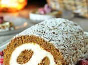 Pumpkin Roll with Cream Cheese Filling Sugared Cranberries