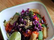 Colourful, Peanutty Tofu Veggie Bowl with Glass Noodles