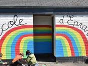 Résidence D'artiste l'Ecole Communale d'Eprave Rochefort. Peinture Murs Cour Récréation Heine Pour Avec Élèves... Work Progress!