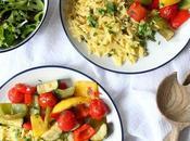 30-Minute Lemon Roasted Vegetables Orzo Pasta Traybake Vegan Recipe