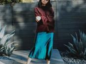 Winter Outfit Satin Slip Midi Skirt