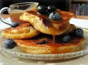 Maple Caramel Sauced Blueberry Cornmeal Pancakes
