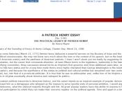 PATRICK HENRY ESSAY (No. 5-98) POLITICAL LEGACY