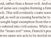 """""""Nobody Should Thrown Out"""": Francis's Latest Shock Wave Some Circles) Same-Sex Civil Unions"""