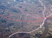 Bordeaux Tram Network Viewed from Plane