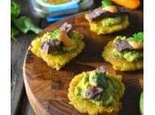 Avocado Skirt Steak Tostones (Fried Green Plantains)