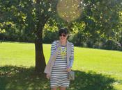 Outfit: Trench Vest Striped Dress