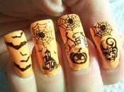 """Holiday Stomp"" Halloween Challenge Orange Black Mani"