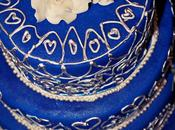 Royal Blue Silver Wedding Cake