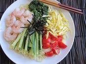 Hiyashi Chyuka (Cold Ramen Noodle Salad) with Black Sesame Vinaigrette