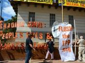 Activists Banner Drop Lock Down Trade Building Expose Negotiations