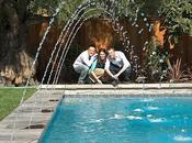 High-Tech Gadgets Create Entertaining Beautiful Swimming Pool Area