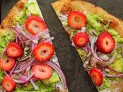 Flatbreads with Avocado, Seasoned Onions, Cotija Cream Cheese Spread, Strawberries