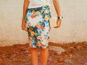 Floral Pencil Skirt Looking Back