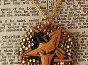 Rhinestone Orange Black Baphomet Pentagram Necklace Ugly Shyla